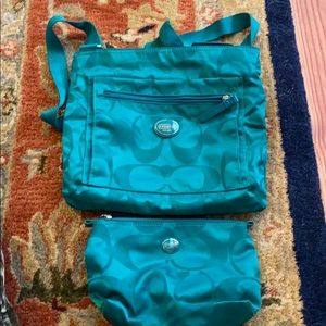 Teal Coach Purse and Cosmetic Bag